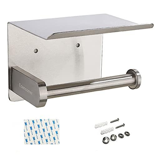 Portarrollos Baño Acero Inoxidable SUS 304,  Portarrollo para Papel Higiénico Adhesivo con Teléfono Inteligente Estante (Plateado)