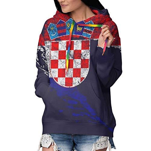 TTYIY Kapuzenpullover für Frauen Mädchen Damen Streetwear Gr. S, Kroatien Flagge und Karte Kroatiens Stolz