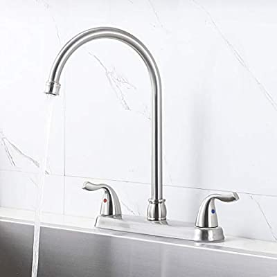 Hotis Stainless Steel Two Handle Kitchen Faucet for Mobile Motor Homes,Trailers, Campers , Brushed Nickel Lead-Free Faucet Kitchen by HOTIS HOME