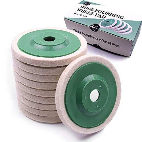 ATOPLEE 10pcs Diamètre 100 mm de laine de polissage de polissage de roue Pad Tampon disque Bore Dia 16mm