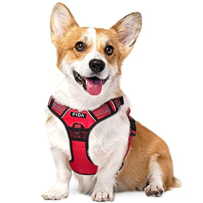 Fida Dog Harness Full Reflective Design, No-Pull Pet Vest Harness with 2 Leash Clips, Adjustable Soft Padded with Easy Control Handle for Medium Dogs(M, Red) by Best-Run Technology CO.,Ltd