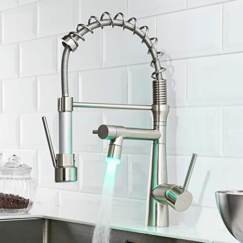 TIMACO LED Küchenarmatur mit Spiralfeder, 360° Schwenkbare Spültischarmaturen mit Zwei Auslauf, Wasserhahn Küchen & Brause ausziehbar- Hochdruck, Gebürstetes Nickel