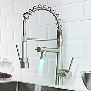 Timaco - Grifo de cocina con luz led y muelle en espiral, giratorio 360°, con dos cañas, grifo de cocina y ducha extraíble, alta presión, níquel cepillado