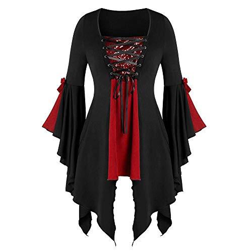 Doublehero Gothic Kleidung Damen Kleid Mittelalter Kostüm Punk Karneval Kostüm Cosplay Langarm Steampunk Minikleid Sommer Schnürung Rückenfrei Party Vintage Kleid Weihnachten (S,Rot)
