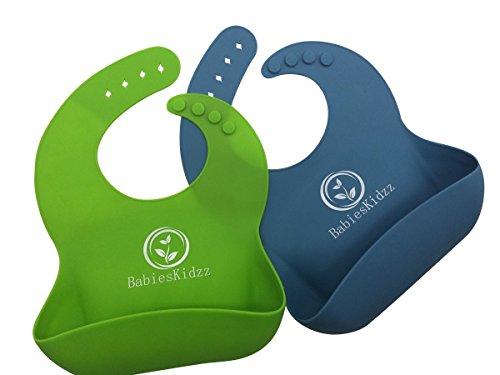 Baby-Lätzchen super weichen Silikon Baby-Lätzchen für Baby feeding.Premium Baby-Lätzchen für Ihre hübschen kids.Easy zu reinigen Baby-Lätzchen in 2 Pack (Green/Blue)