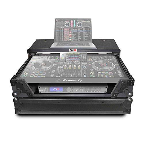 ProX XS-XDJXZWLTBL for Pioneer DJ XDJ-XZ Flight Hard Road Gig Ready Case W/Glide Sliding Laptop Shelf and Wheels Black on Black Hardware