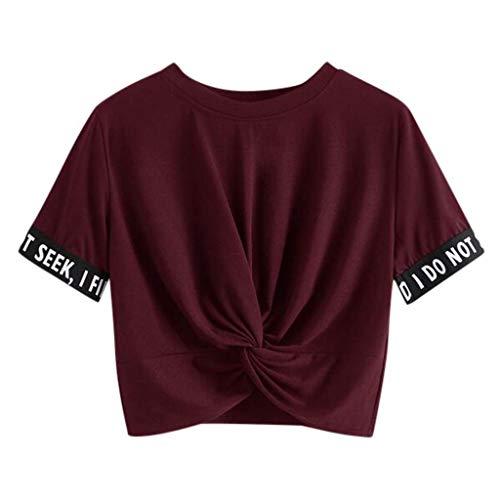Luckycat Mujeres Casual Manga Corta Camiseta Tops Chaleco Letra Impreso Blusa Camiseta Cuello Redondo Mini Vestidos Sueltos Tops de Verano Chicas Adolescentes Hip Hop Ropa de Baile Rocío Ombligo