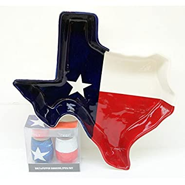 Flag Texas Baking Entertainment Bundle! Hand Painted Texas Flag Shaped Dolomite Baking Pan & Salt & Pepper Shaker Set