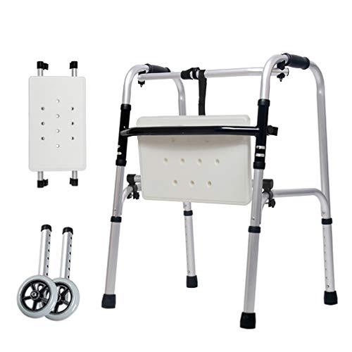Médico Walker plegable Deluxe con ruedas y baño heces, andador Ligera en la tercera edad de la desventaja de movilidad bariátrica ayuda a la movilidad
