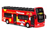 YIJIAOYUN Recorrido turístico Doble autobús Rojo de Juguete Juguete de aleación Diecast Techo Abierto Autobus Autobus Mold / 1:32 Escala Pull-Back Bus con Luces y música