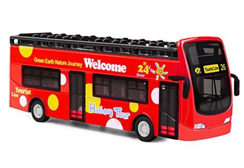 Roter Bus, Türen zum Öffnen Spielzeugauto, Spielzeugbus mit Lampen und Musik, 7 inch Offenes Dach Autobus