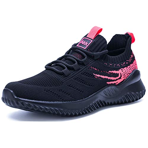 Akk Womens Athletic Walking Shoes - Memory Foam Lightweight Tennis Sports Shoes Gym Jogging Slip On Running Sneakers Black-Pink Size 9