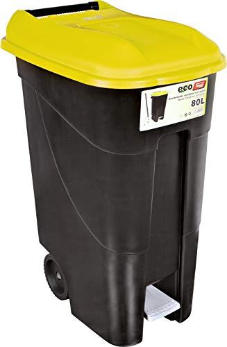 Tayg 259297 Cubo Basura Ruedas + Pedal 80 litros, Tapa Amarilla