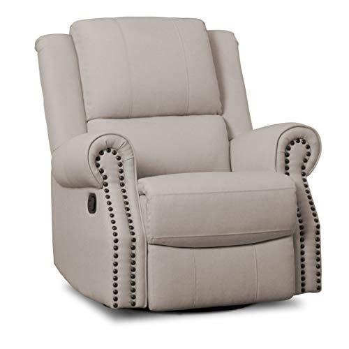 Delta Children Dylan Nursery Recliner Glider Swivel Chair, Flax