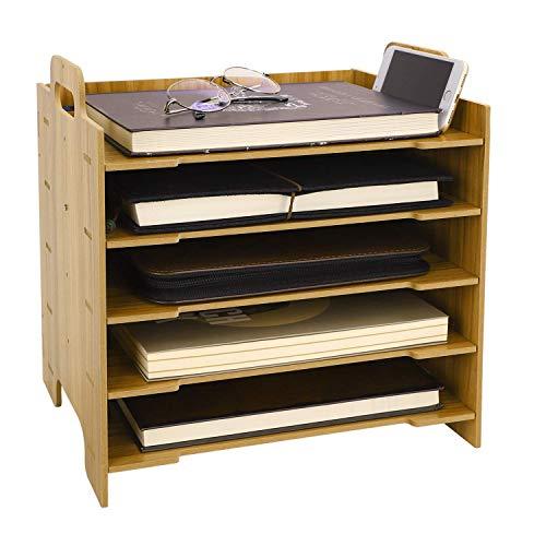 AWJ 5 Sections en Bois Organisateur de Bureau et Support de téléphone Robuste Bien rangé Bricolage boîte de Rangement de Bureau à la Main fichier Livre Magazine Livre Rack