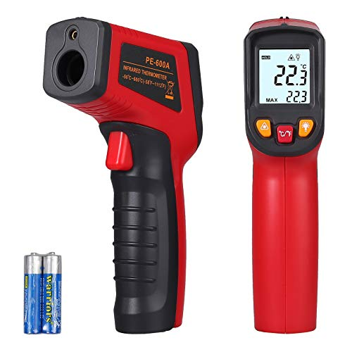 CAMWAY Non-Contact Digital Infrared Thermometer Temperature Gun -58℉~1112℉ / -50℃ ~ 600℃ Adjustable Emissivity IR Thermometer