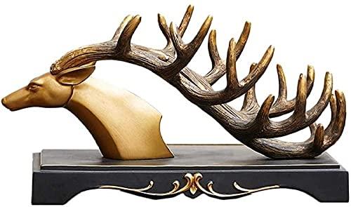 KMILE Decoración de escultura para el hogar, oficina, botella de vino, estante de vino, estante de vino, decoración de la cabeza de ciervo, estante de vino regalos decoraciones para el hogar