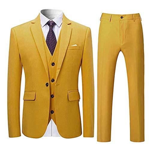 Komise Men's Suit Slim 3-Piece Suit r Business Wedding Party Jacket Vest & Pants