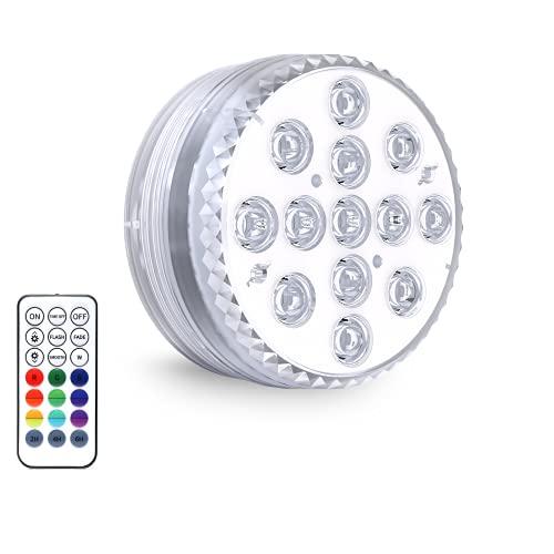 Zenoplige Unterwasser Licht,IP68 Unterwasserlicht mit 13 LEDs, Magnetisch Wasserdichtes Licht mit Fernbedienung RGB Poolbeleuchtung für Vase Pool Badewanne Fisch Tank Festival Dekoration (1 Stk)