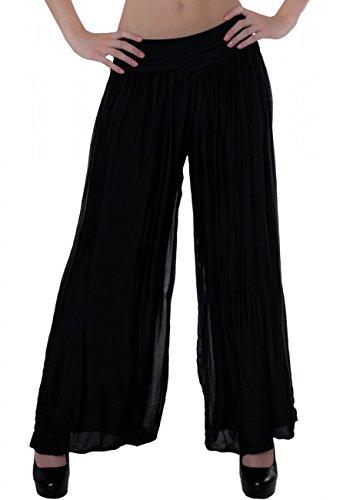 Caspar KHS010 Damen Elegante Lange Marlene Hose Hosenrock mit Seidenanteil und hohem Stretch Bund, Farbe:schwarz, Größe:L-XL