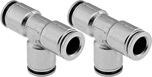 Vixen Air Push to Connect (PTC) Union/Joint Tee/3-way Pneumatic Fitting for 3/8