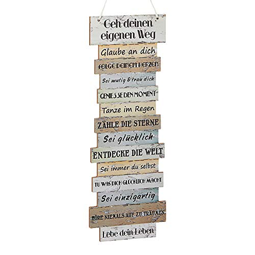 """Wandbild """"Attitude"""" Plankenoptik Lebenseinstellungen Holzoptik Wanddekoration mit Seil zum Aufhängen"""