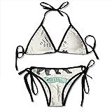 Bear Vintage Original Wildlife Bikini Set Beach Swimwear Two Piece Bikini Swimsuit for Women Girls Beachwear Black