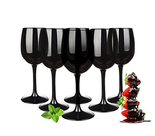 Juego de copas de vino (300 ml, 6 unidades), color negro