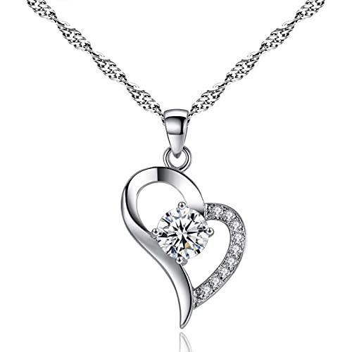 Collar ZIYUYANG con colgante, plata / corazón púrpura, collar con colgante de cristal de circonita, joyería para mujer, regalo de San Valentín, plata