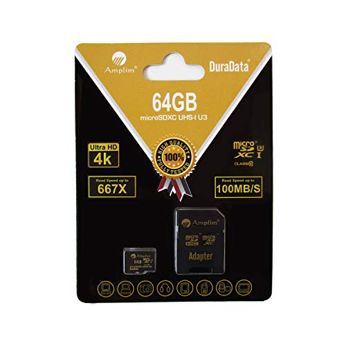 Amplim 64GB MicroSDXC UHS-I U3 V30 A1 C10 100MB/s 4K UHD & Full HD Micro SD Memory Card with Adapter, Nintendo-Switch Compatible - Gold