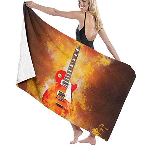 Ewtretr Toalla de Playa Rock Roll Fire Guitar Microfiber Beach Towels Quick Dry Super Absorbent Bathing SPA Pool Towels for Swimming & Outdoor, 31'x 51'