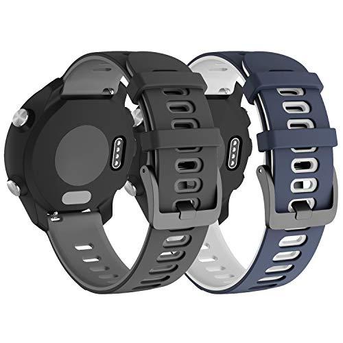Pulseira extra para Garmin Forerunner 245/645 Music/Vivomove/Vivomove HR and Active 3 (Kit Cinza+Azul)