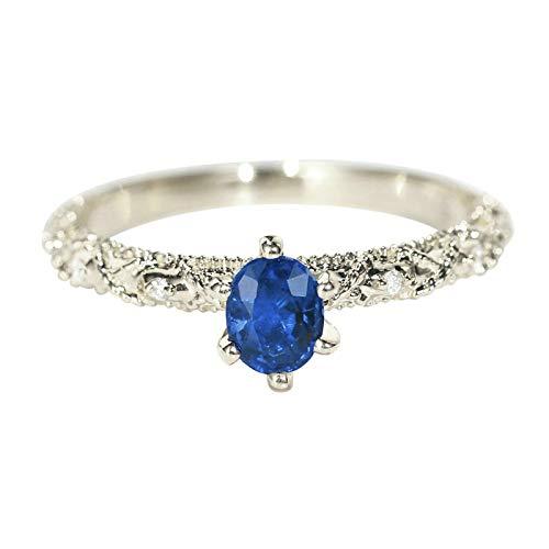 Bishilin Weißgold Ringe 750 18K Ehering 4-Steg-Krappenfassung Rund 0.4 Saphir Hochzeitringe für Sie Damen Größe 58 (18.5)
