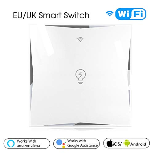 Space element Interruptor táctil de Pared Wi-Fi 1 Way 1 Gang, con Pantalla táctil, pulsador de Cristal. Compatible con Alexa, Asistente de Google y IFTTT(Se Requiere un Cable Neutral al Instalar)