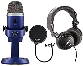 Blue Yeti Nano USB Microphone (Vivid Blue) with Headphones and Knox Gear Pop Filter