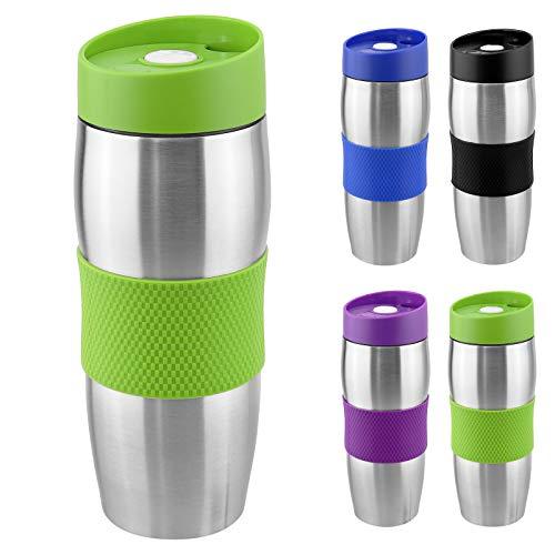 WELLGRO® Thermobecher 380 ml - Edelstahl - BPA-frei - Isolierbecher - Farbe wählbar, Farbe:Grün