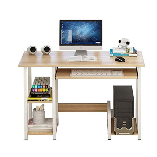 MotBach Home Laptop Notebook Computer Desk, Computer Desk with Sliding Keyboard Tray Shelf and Lockers Home Office Furniture