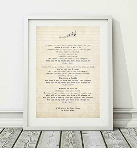 Didymus Co Bryan Adams – I'll Always Be Right There – Songtext-Poster (ungerahmt) – Größen A4 A3 (A4)