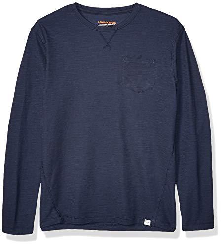 Hawke & Co Men's Crew Neck Mini Waffle Sweatshirt W/Pocket, Eclipse, X-Large