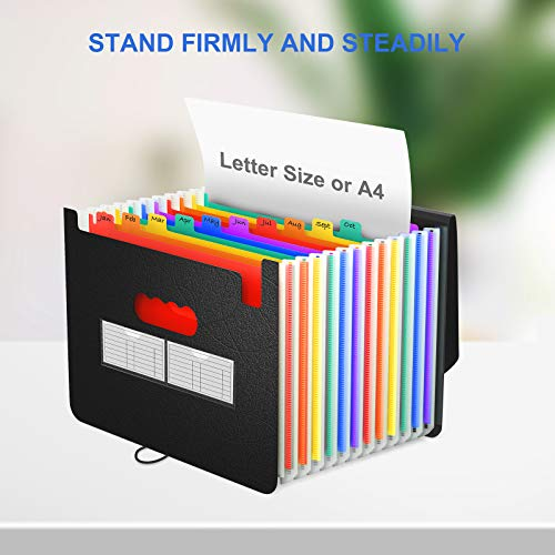Expanding File Folder/Accordian File Organizer with Expandable Cover/Portable A4 Letter Size File Box,High Capacity Plastic Colored Paper Document Receipt Organizer Filing Folder Organizer Photo #2