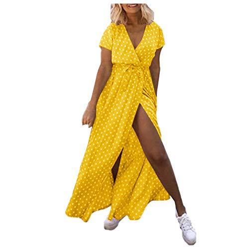 YANFANG Vestido Largo Suelto con Escote En V Y Cintura Alta Informal Lunares Suelta,Vestido Ajustado Mujer,Vestidos Corto Verano Largos Mujer,Amarillo,M