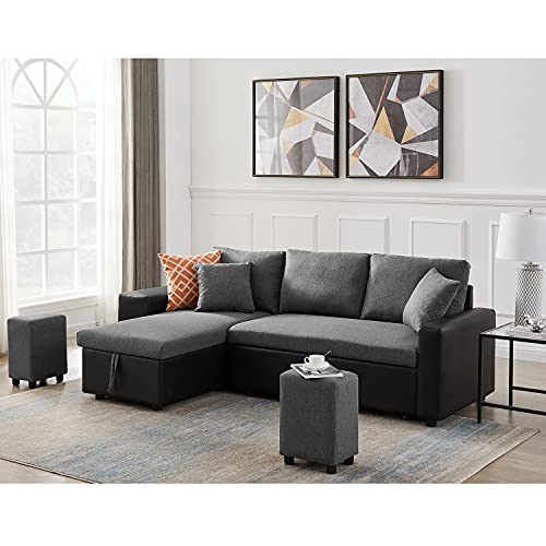 STARTOGOO Sectional Sofa with Chaise Lounge, Storage Ottoman and 2 Pillows, L-Shaped Corner Couch for Living Room, Home Furniture, Gray Right