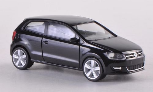 VW Polo, 2-türig, schwarz , Modellauto, Fertigmodell, Herpa 1:87