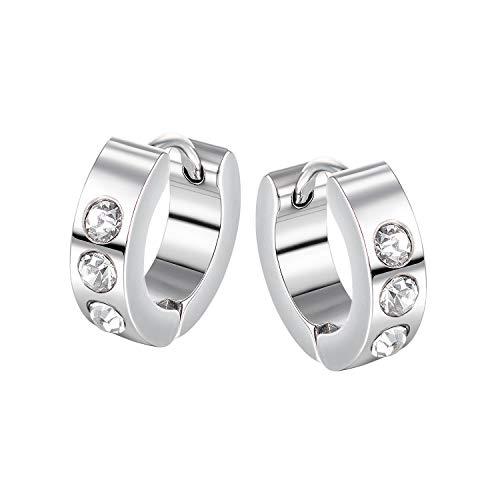Vissen - Pendientes de aro para hombre y mujer, acero inoxidable, 4 mm de ancho, ideal como regalo