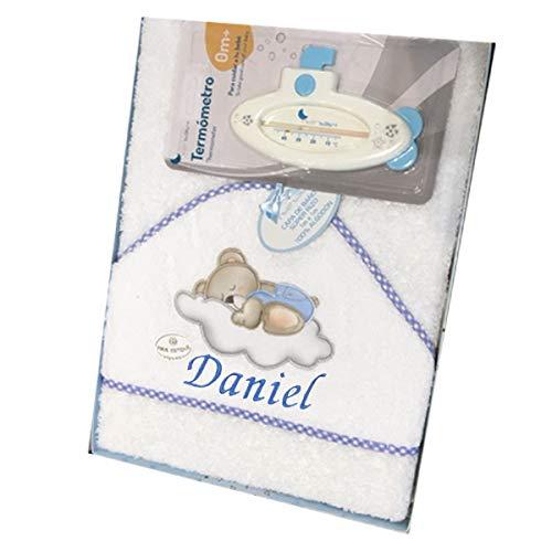 Capa de baño para Bebe BORDADA con nombre. Modelo Osito luna. Capas y toallas bebe regalos bebe (Azul/Blanco)