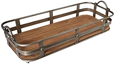 """Circleware Cooperstown Craftsman Rectangle Serving Tray with Handles Home and Kitchen Multi-Purpose Serveware for Coffee Table, Dinner, Breakfast, Food, Farmhouse Decor, 19"""" x 8.5"""" x 4.5"""", Wood"""
