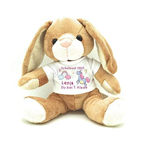 Kilala Hase Kuscheltier für die Zuckertüte Schultüte mit Wunschname Hase Topping für die Schultüte (Einhorn)