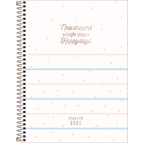 Planner Espiral 20 x 27,5 cm Soho 90 Grande 2022 - Estampa Listras azuis e rosas - new dreams - Tilibra