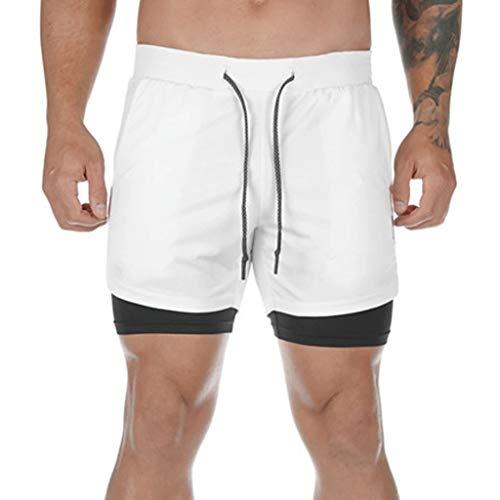 Amphia Shorts Herren Sporthose,2 in 1 Kurze Hosen Schnelltrocknende Laufshorts Fitness Joggen, Trainingsshorts mit Tasche Kurze Sporthose für Workout, Fitness