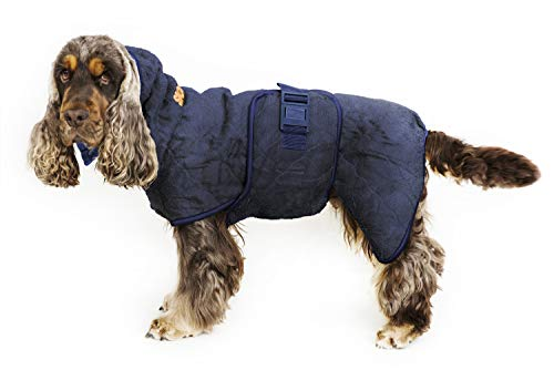Siccaro Hundemantel WetDog | Extrem saugstarker Bademantel für Hunde | Anti-bakterielle Wirkung | Reduziert Gerüche | Waschmaschinen und trocknergeeignet (S, Granite)